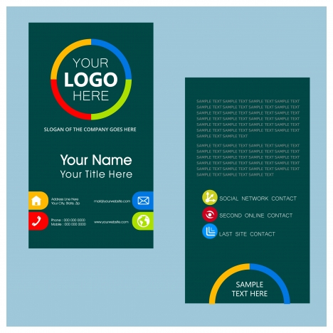 Name card template with dark color vertical design vectors stock in