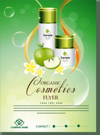 Organic cosmetic flyer apple cream product ornament vectors stock in
