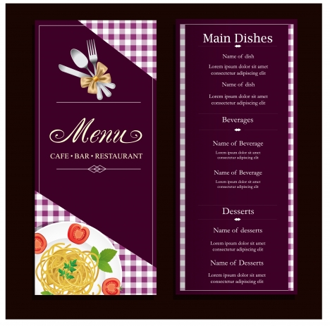 Restaurant menu design with classical violet background vectors