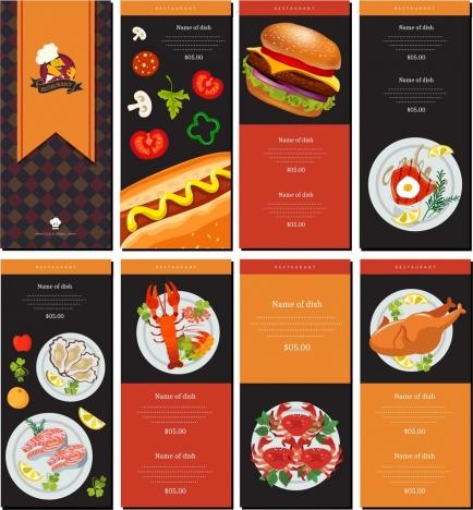 Restaurant menu templates shiny elegant modern design vectors stock