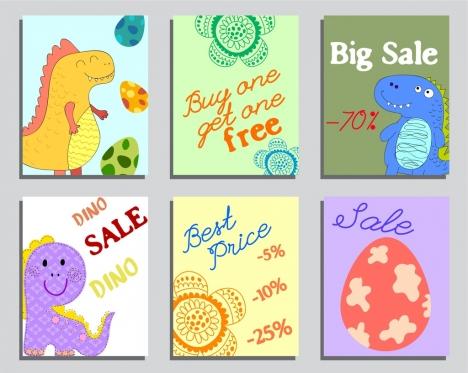 Sales banner templates dinosaur egg flowers icons decor vectors