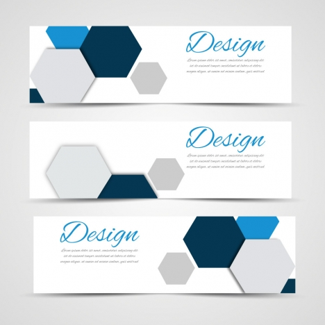 Sets of banners design on hexagon background vectors stock in format