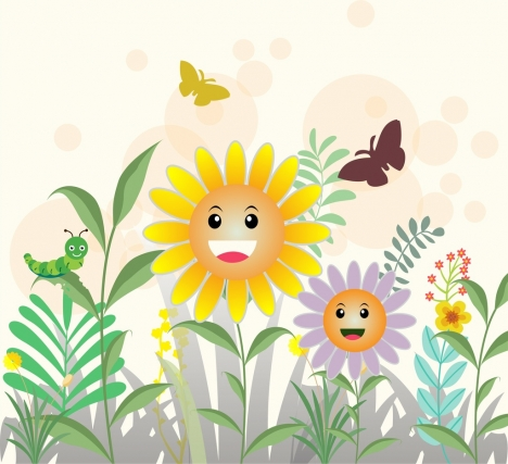 Natural spring background colorful cartoon style vectors stock in
