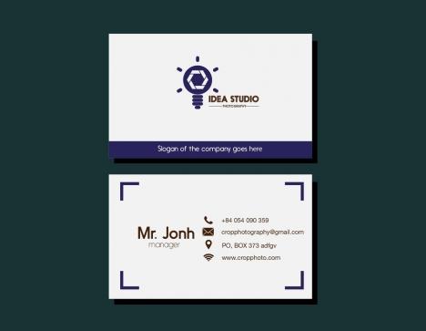 Studio name card lightbulb design on white background vectors stock