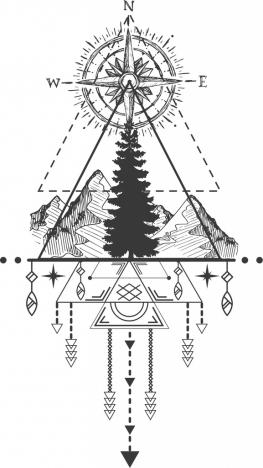 Tribal tattoo template compass mountain icons symmetric design