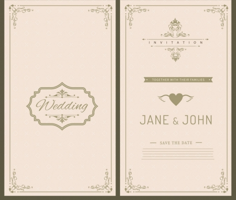 Wedding card template black white retro ornament vectors stock in - wedding card template