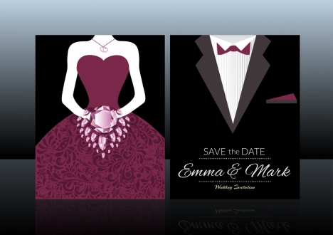 Wedding card template vectors stock for free download about (111