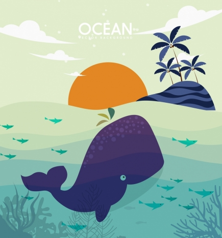 Wild ocean background island whale icons vectors stock in format for
