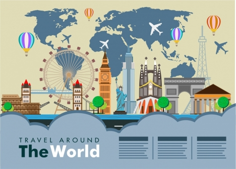 World travel banner famous places on map background vectors stock in