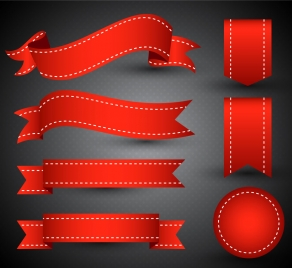 Cute Ribbons Wallpaper 3d Red Ribbons Sets Design For Products Promotion Vectors