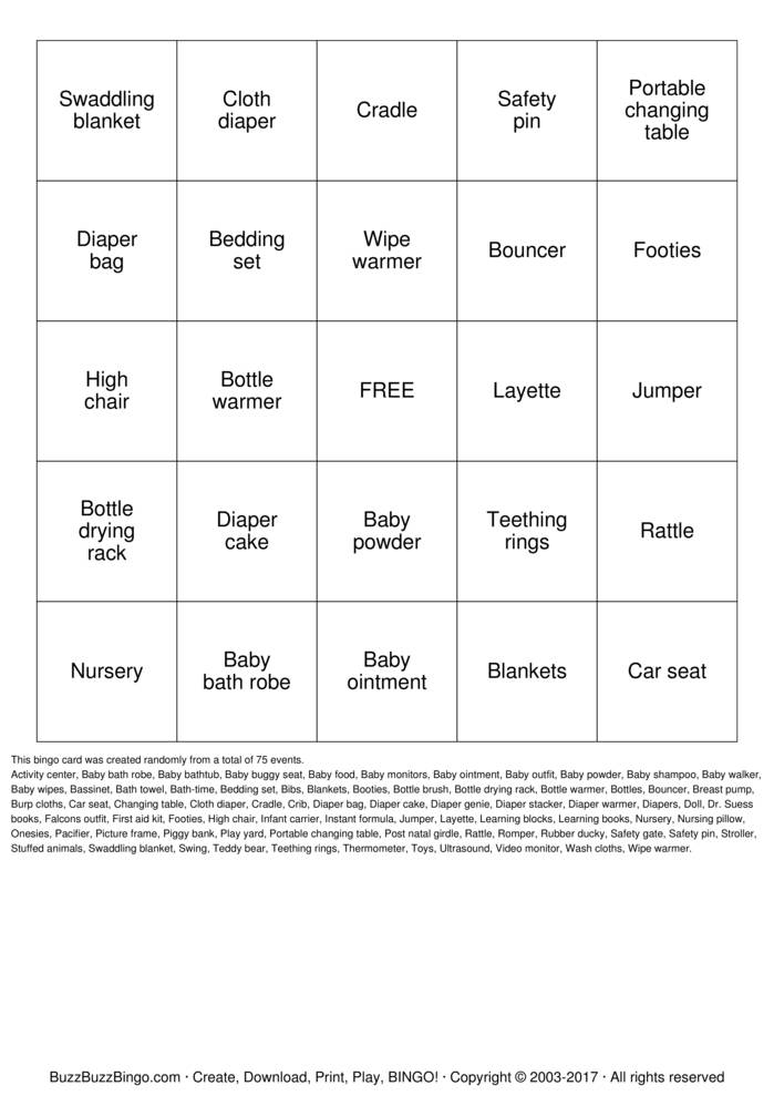 Infant Carrier In Middle Seat Gift Bingo Bingo Cards To Download Print And Customize