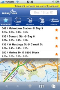 A screenshot of TransLink's iPhone application - a mobile site optimized for the iPhone.
