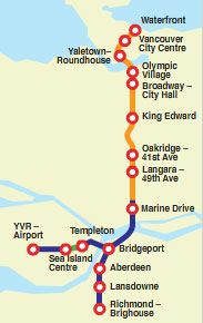 The Canada Line route map.