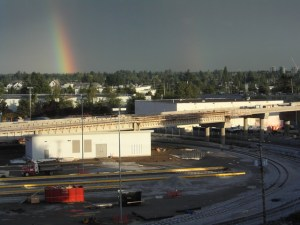 A double rainbow over the Operations and Maintenance Centre --- one of the many fabulous photos found at Canada Line Photography.
