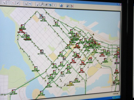 Downtown Vancouver's bus traffic at a glance. Owing to new communications upgrades, supervisors at Transit Communications can now watch bus traffic throughout the region like this in real time.