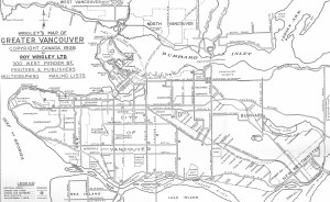 A 1936 map of Greater Vancouver interurban and streetcar routes, showing the interurbans at their height. Routes began to close down after the Pattullo Bridge opened. (The interurban lines are the dark dotted lines with circles every few millimetres – see the legend at the bottom right.) The map is from Wrigley's Greater Vancouver City Street Guide, courtesy of the City of Burnaby Archives.