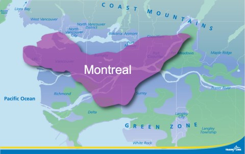 The area of the City of Montreal, superimposed over our service area.