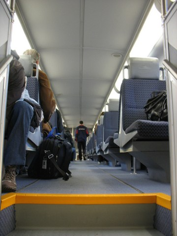 The upper level of a WCE train car.