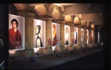 Cindy Sherman's exhibition at Gloucester Road. Photo from the <a href=http://www.tfl.gov.uk/tfl/corporate/projectsandschemes/artmusicdesign/pfa/largeImage.asp?artist=sherman&pic=11>Art on the Underground website</a>.