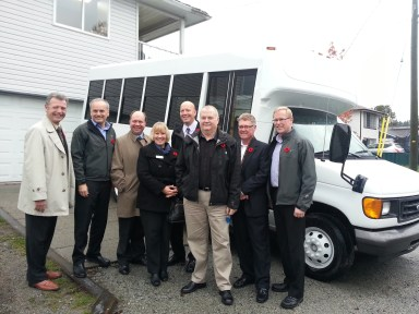 Group picture of Coquitlam & Port Coquitlam MLA's and Mayors, with TransLink EVP Bob Paddon and Rob Thiessen from Hope for Freedom Society.