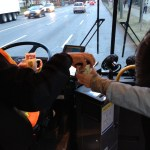 A bus operator gets some hot cocoa