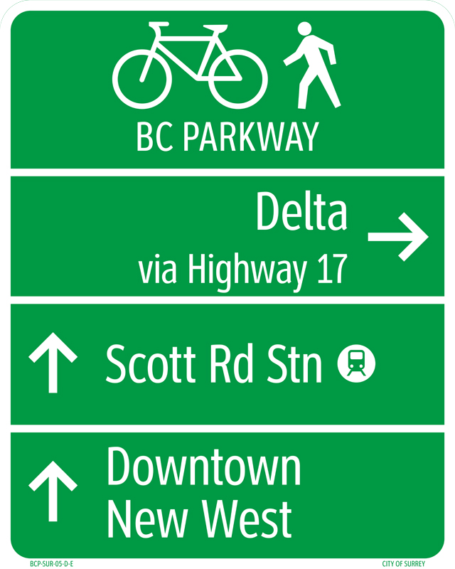 The new look to wayfinding signs along the BC Parkway