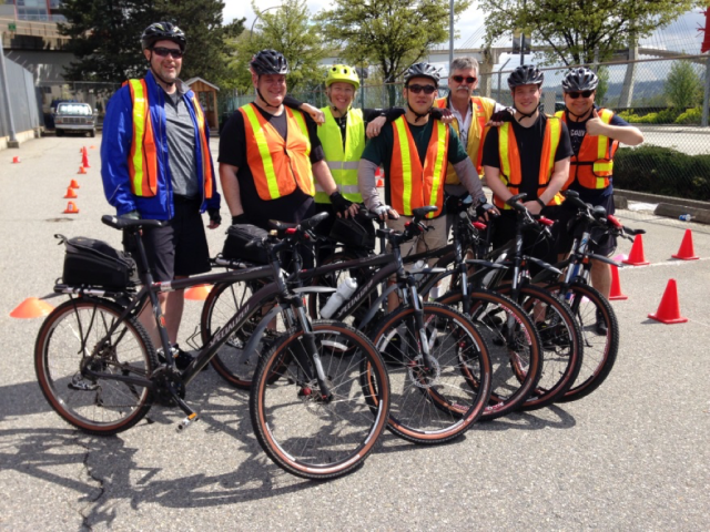 From left to right: Scott Arnold, Dale Mackie, Cst. Glover (Transit Police), Jeff Kim, Cst. Skelton (Transit Police), Matt Forshaw, and Nick Kellof. Missing from photo: Dave Partridge and Greg Gervais, returning 2016 Bike Patrol officers)