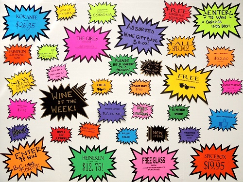 Bright perforated Starburst Signs in 12 colours and 3 sizesFree