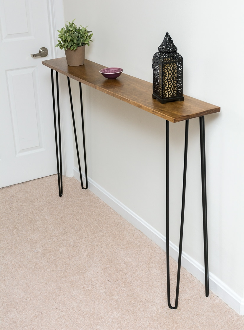 Diy Desk With Hairpin Legs Leftover Pine Diy Hairpin Leg Console Table By Brittany Goldwyn