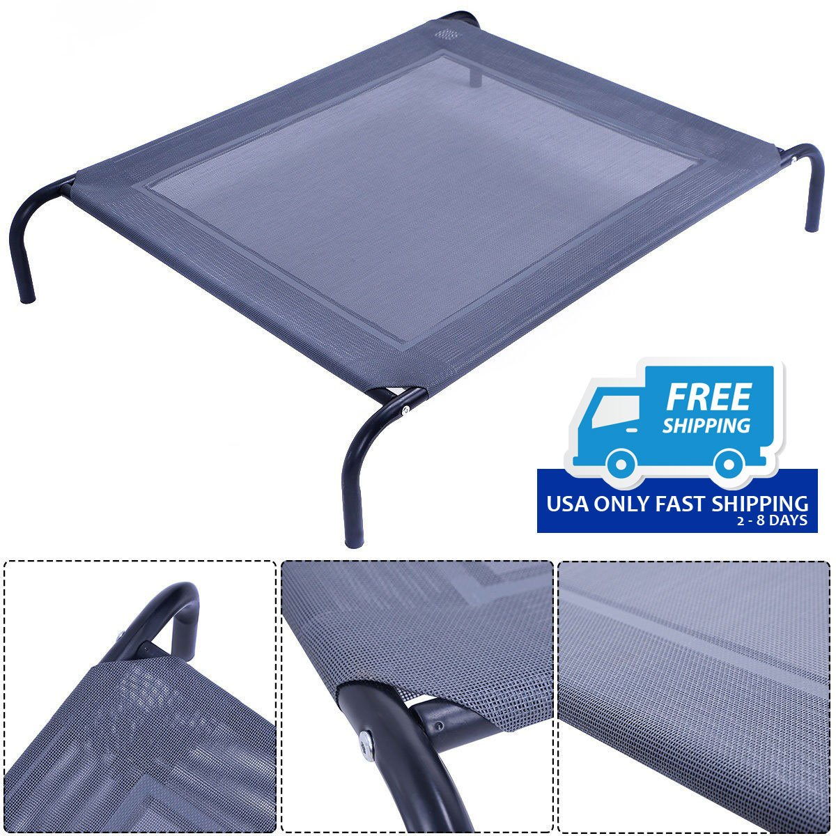 Large Frame Mat Large Dog Cat Bed Elevated Pet Cot Indoor Outdoor Camping Steel Frame Mat