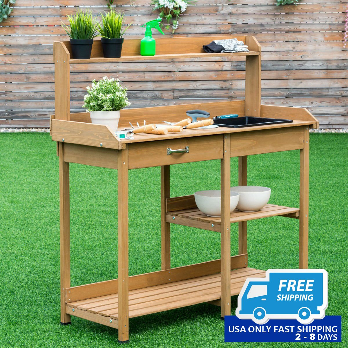 Wooden Bench Table Garden Wooden Planting Potting Bench Table With Shelves