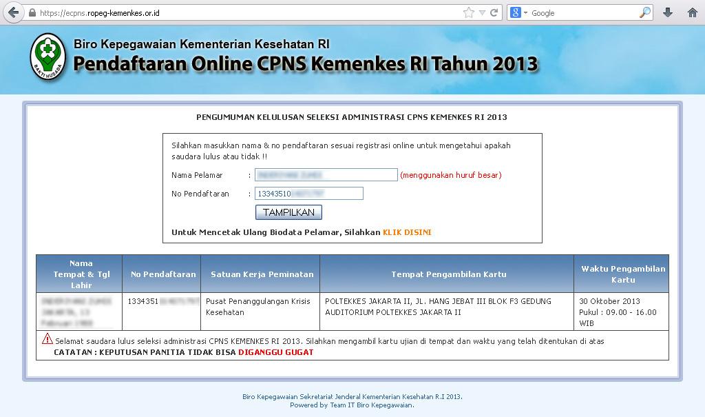 Penerimaan Cpns Kesehatan 2013 2014 Pengumuman Penerimaan Pendaftaran Tes Cpns Online 2016 Cpns Kemenkes Ri 2013 Dari Biro Kepegawaian Kementerian Kesehatan Ri