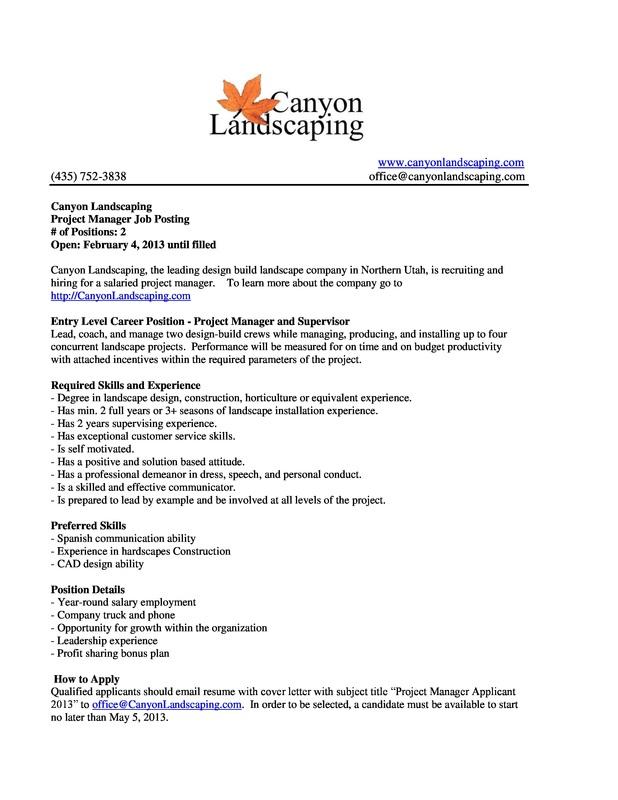 Job/Internship Postings - BYU-Idaho Applied Plant Science - general intern job description