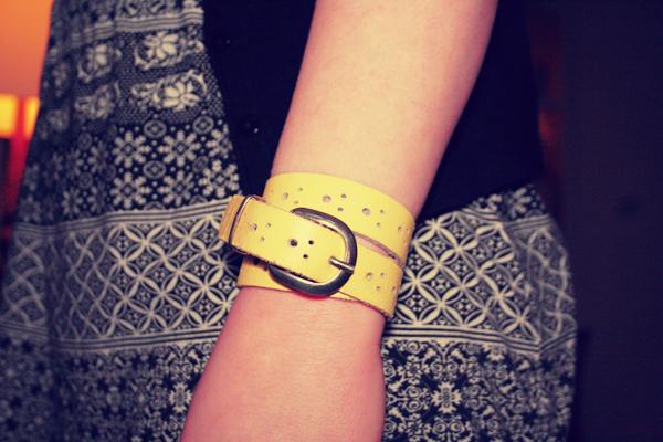 diy - leather belt bracelet
