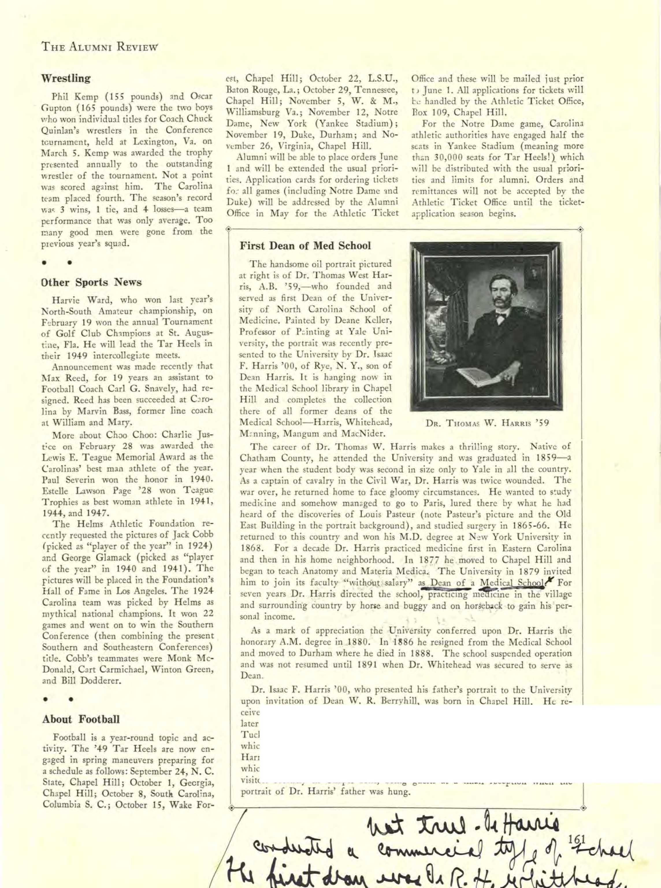Wat Is Topic Carolina Alumni Review February 1949 Page 161