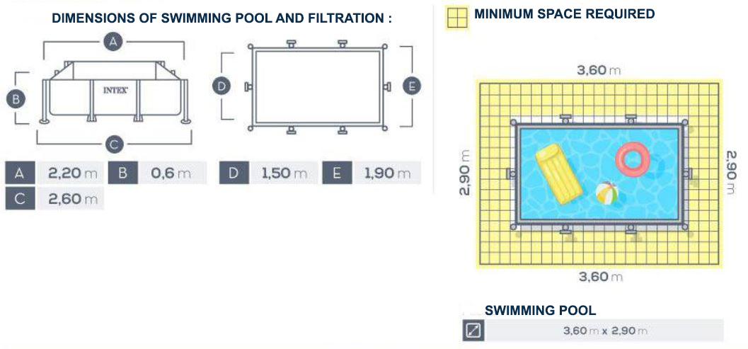 Dimensions Piscine Intex Metal Frame Junior 2,20 X 1,50 X ↕0,60m - C-piscine