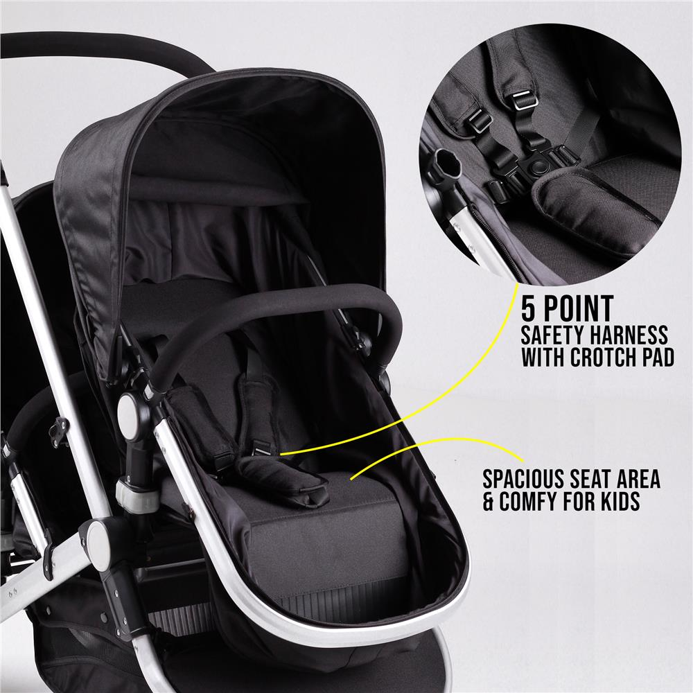 Car Seat Carrier Stroller New 2in1 Luxury Double Twin Tandem Stroller Baby Carrier Newborn To
