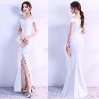 Elegant White Prom Dress with Side (end 1/17/2019 11:15 AM)