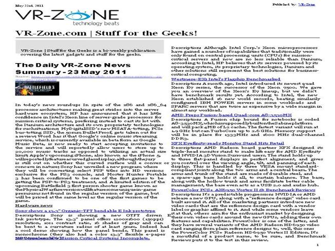 VR-Zone Technology News Stuff for the Geeks! May 2011 Issue