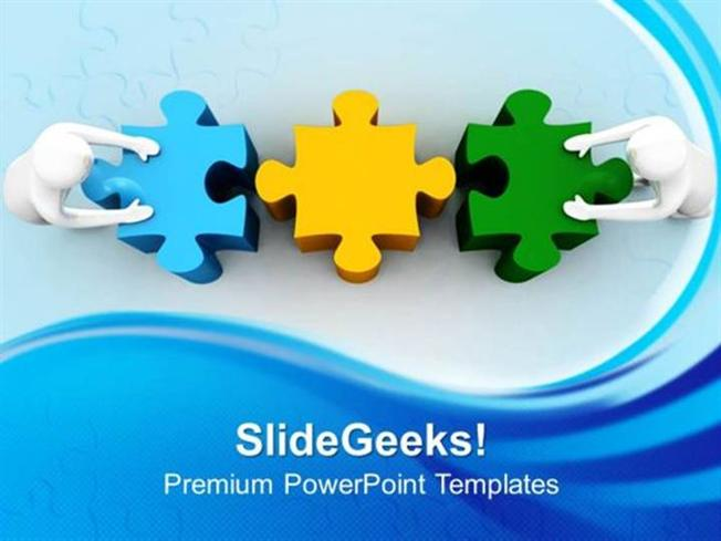 PEOPLE 3D MAN WITH PUZZLE TEAMWORK PPT TEMPLATE 1-PowerPoint Template