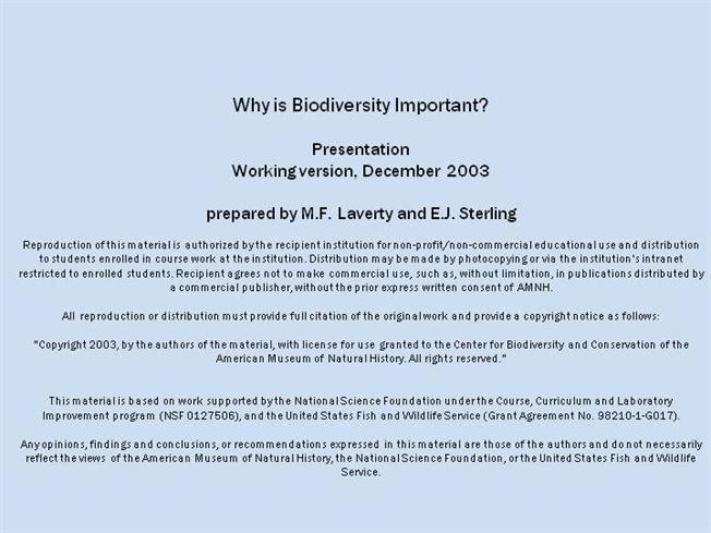 Why is Biodiversity Important (1)authorSTREAM - notice of copyright importance
