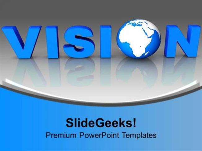 STRATEGY BLUE LETTER VISION WITH GLOBE BUSINESS PPT TEMPLATE
