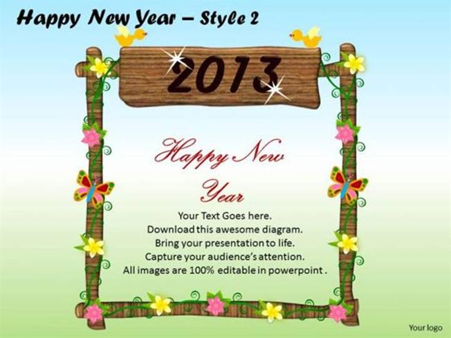2013 NEW YEAR WELCOME CARD-PowerPoint Diagram