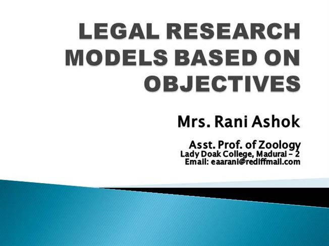 Legal Research Models Based on ObjectivesauthorSTREAM