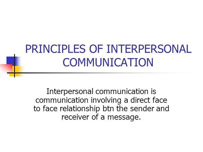 PRINCIPLES of INTERPERSONAL COMMUNICATIONauthorSTREAM