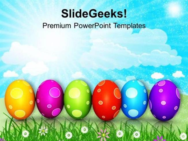 CHURCH COLOURFUL EASTER EGGS IN A ROW PPT TEMPLATE-PowerPoint Template