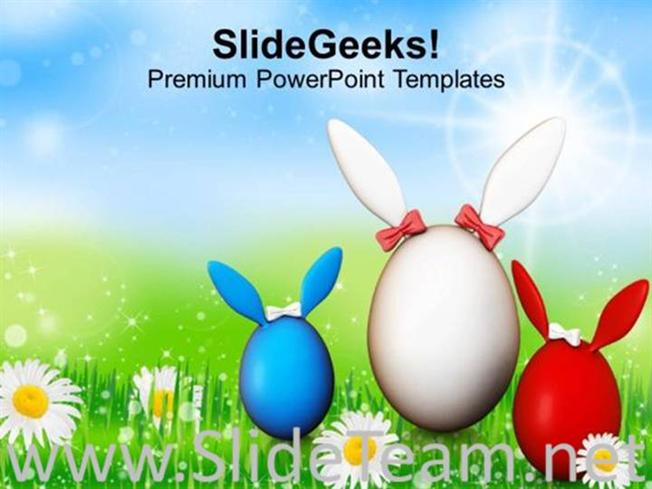EGGS AND BUNNIES ARE SYMBOLS OF EASTER POWERPOINT TEMPLATE