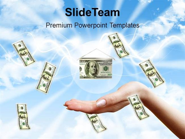 Money Falling to Hands Over Blue Sky Background Powerpoint Templat - money background for powerpoint