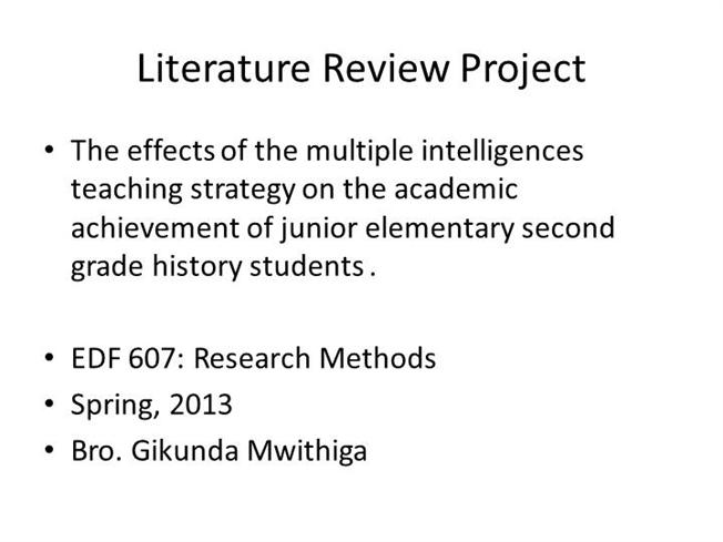 Literature review outline example apa - Advantages of Selecting