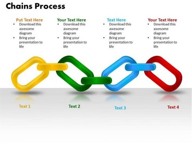 DESIGN 4 STAGES CHAINS PROCESS TEAMWORK BACKGROUNDS-PowerPoint Diagram